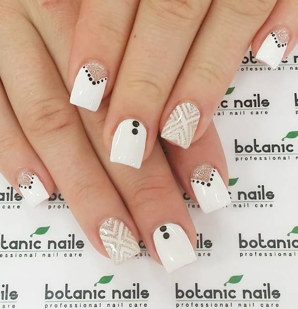 good-white-base-and-black-dotted-nail-designs