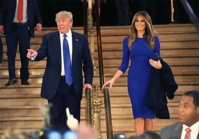 melania-trump-dress-in-royal-blue-with-her-husband