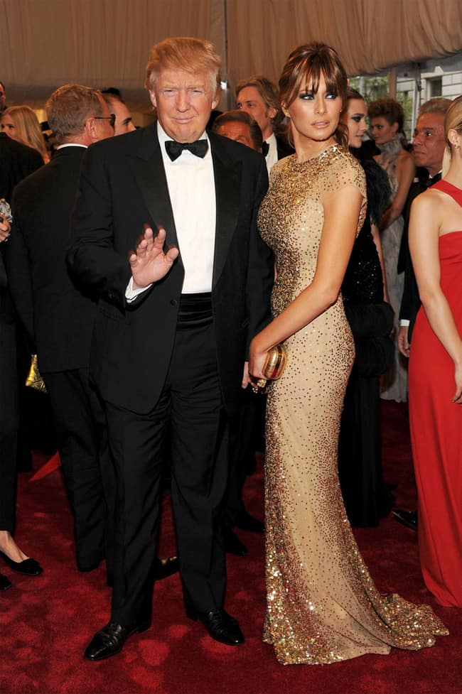 melania-trump-in-gold-evening-gown-with-donald-trump