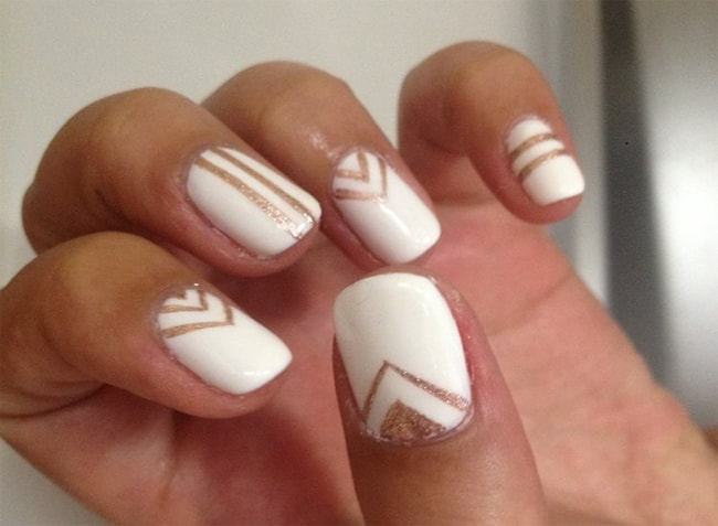 stunning-white-nails-with-gold-chevron-nail-designs