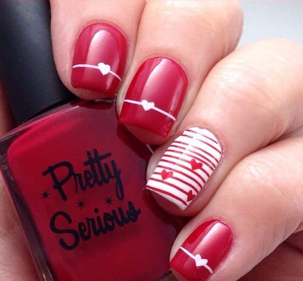 25 hottest and cute red nail designs 2018 sheideas stylish red heart nail designs for valentines day prinsesfo Images