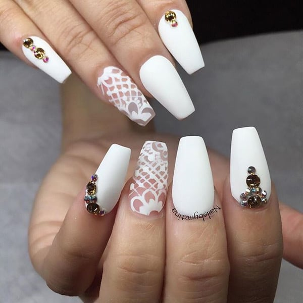 trendy-piece-diamonds-white-nails-designs-for-girls