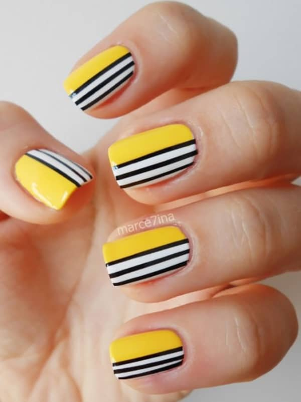 yellow-white-and-black-nail-art-pictures-2017