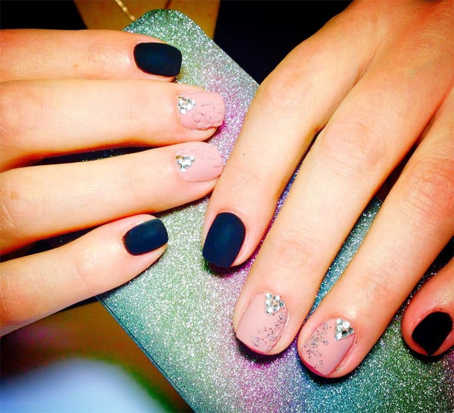 floral dark blue nail art ideas for short nails - Shellac Nail Design Ideas
