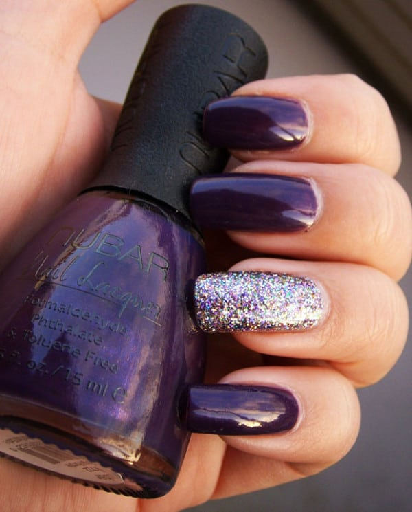 Hy New Year Eve Purple Nail Art Designs 2017