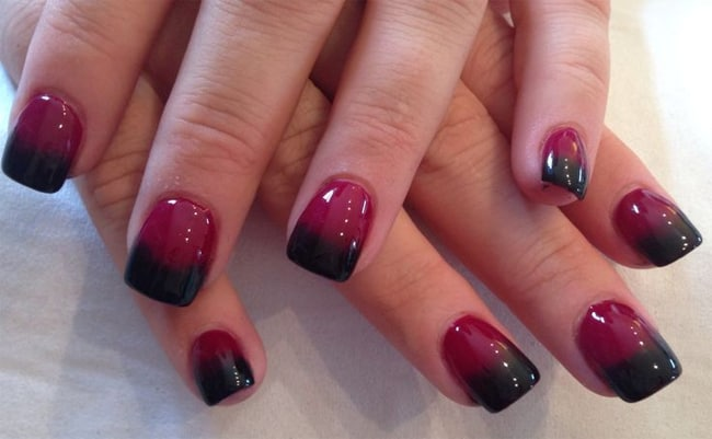 Red And Black Ombre Shellac Nail Designs For Christmas