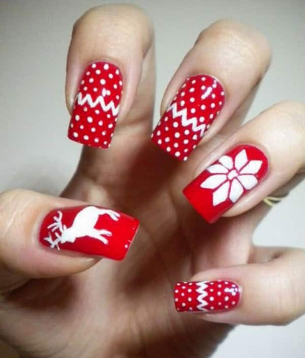 20 exclusive new year nail designs 2017 sheideas red and white new year 2017 nail polish designs prinsesfo Image collections