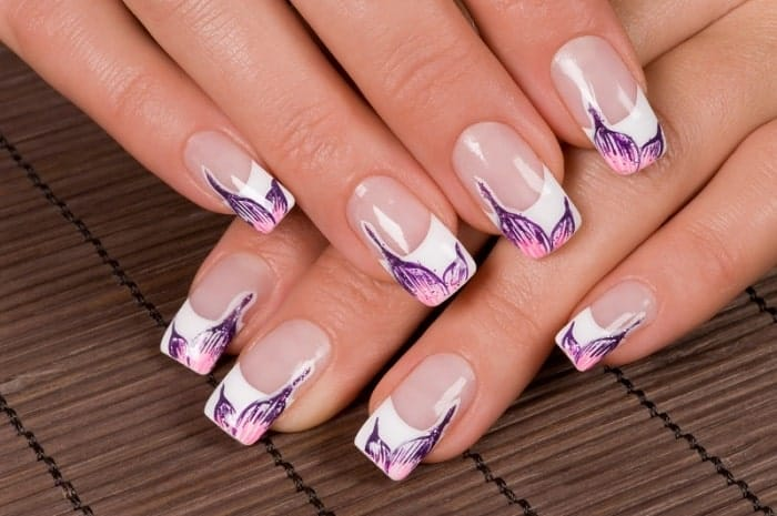 Floral French Manicure Nail Art Designs - SheIdeas