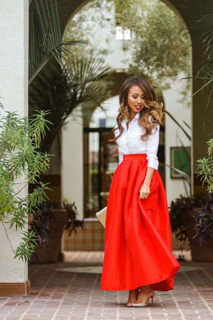 17 Most Beautiful Red Skirt Outfits Images - SheIdeas