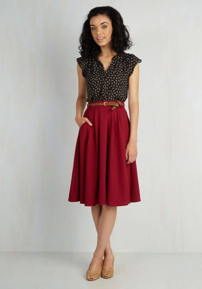exceptional red long skirt outfit ideas