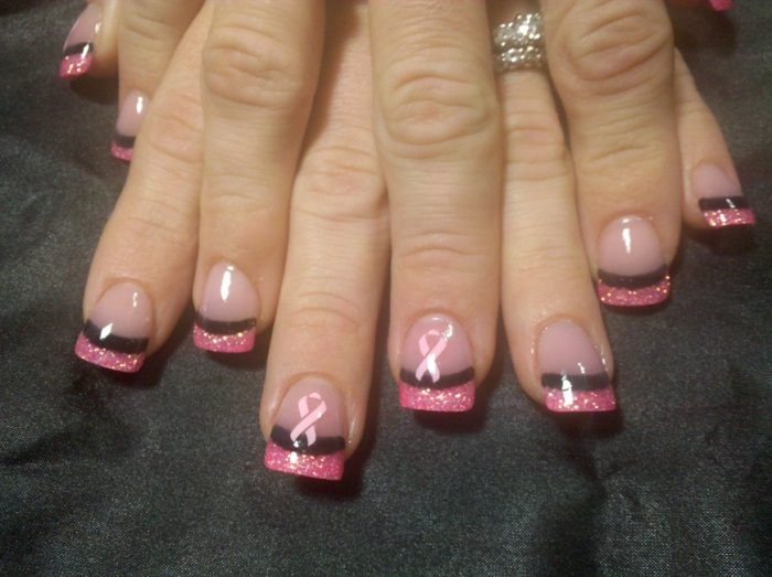 Pink T Cancer Acrylic Nail Art Designs