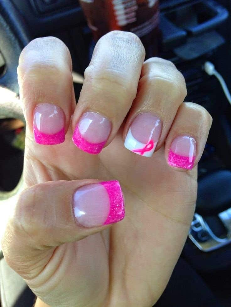 Simple Breast Cancer Nails Ideas 2017 - SheIdeas