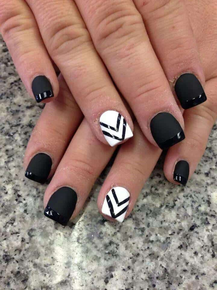 V Shaped Black and White Nails Designs for Girls - 22 Hottest Black Nail Designs Pictures 2017 - SheIdeas