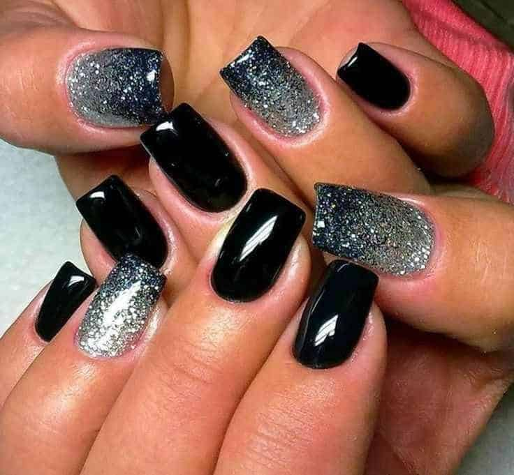 32 cute gel nail polish designs for ladies sheideas 11 black and glitter fingernail designs prinsesfo Image collections