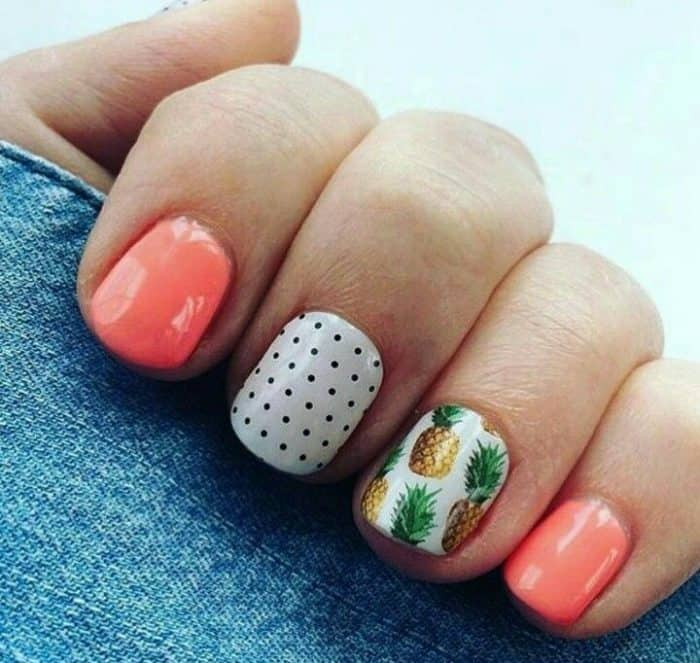 Blue Nails With Pineapple Design