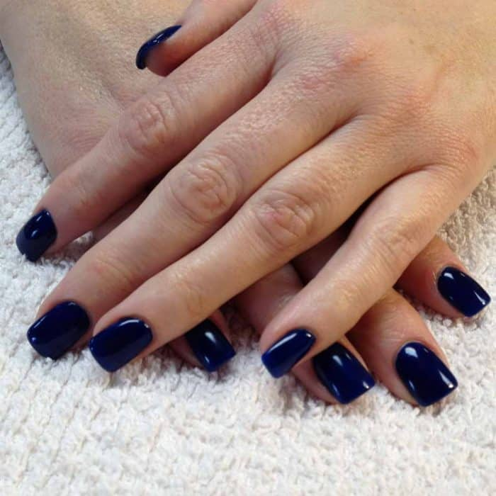 Dark Blue Gel Nail Polish Designs on Natural Nails - SheIdeas
