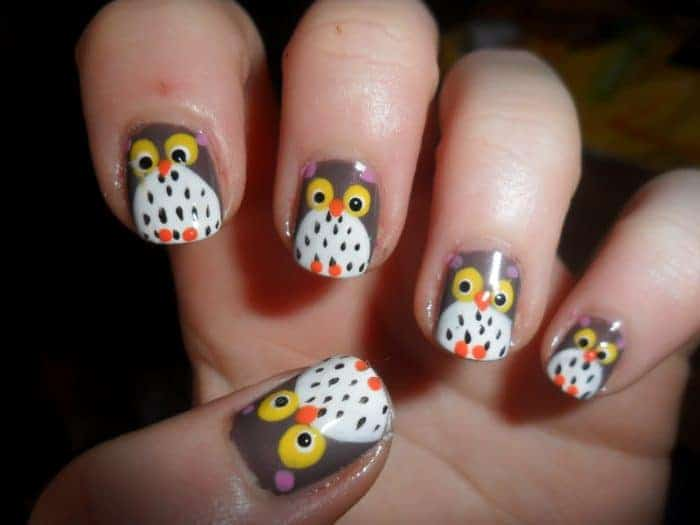 15 lovely animal print nails art designs sheideas great owl nail painting art images prinsesfo Choice Image