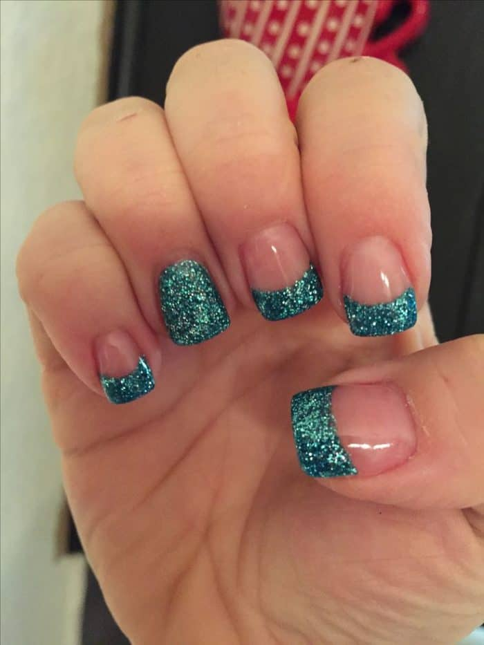 French glitter solar nail designs are trending in the nail fashion  industry. Dark green peacock colorfully coated on accent nails and on the  tips of the ... - 31 Unique Solar Nail Designs For 2019 (With Pictures) – SheIdeas