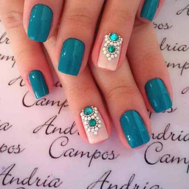 30 impressive teal nail art designs for 2018 sheideas prinsesfo Images