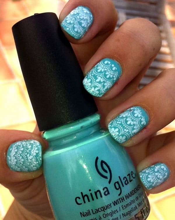30 impressive teal nail art designs for 2018 sheideas nature motivated teal nail art designs are a major hit you should simply apply any of the above different blends to enable you to get propelled prinsesfo Images