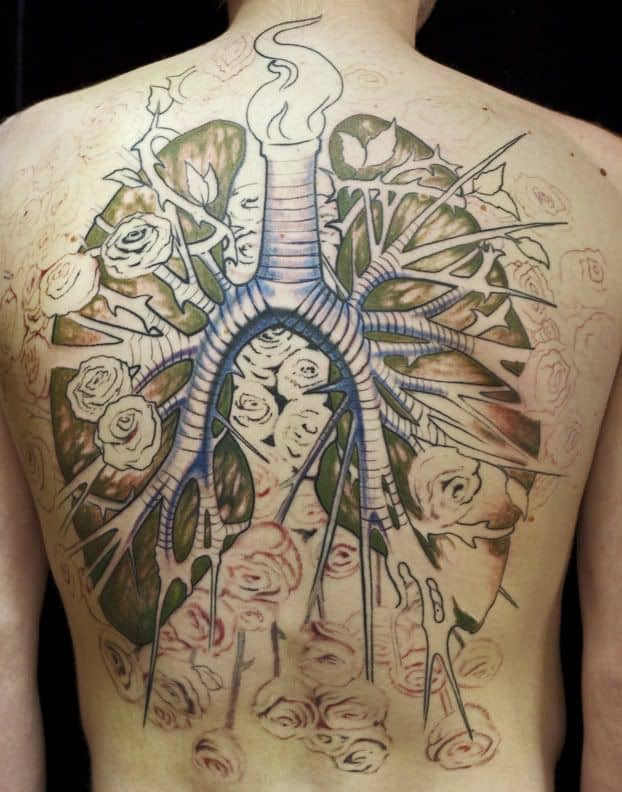 16 eye catching lung tattoo designs pictures sheideas for Lung cancer tattoo