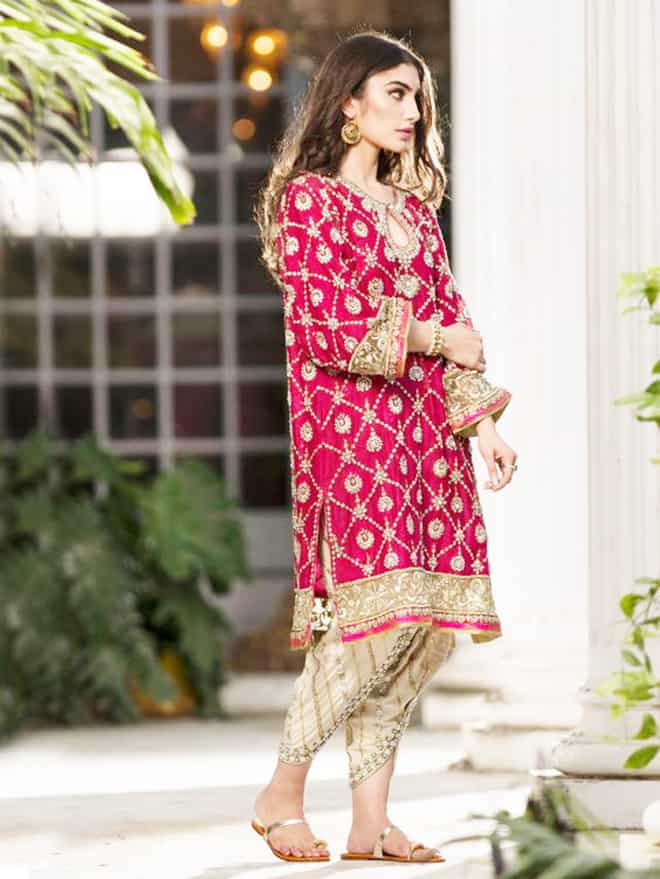 Bridal Pink Kurta With Golden Tulip Pants Sheideas