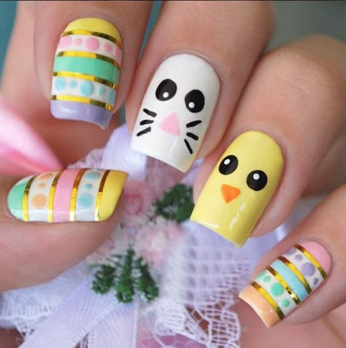 Stunning Easter Nail Designs for Long Nails - 25 Easy Easter Nail Art Ideas For Ladies 2018 - SheIdeas