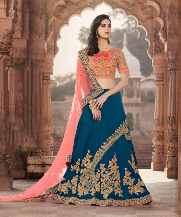 5d8fcd9a78bc2 Teal Blue Lehenga Choli Design for Brides. latest lehenga blouse designs