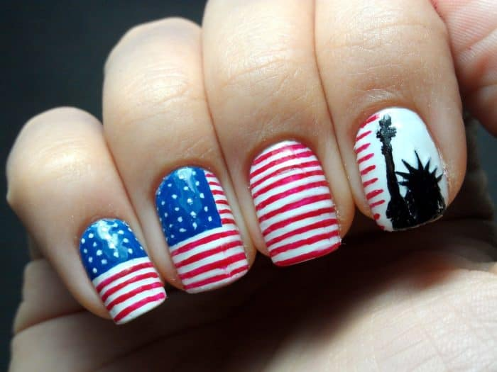 25 Astonishing Patriotic Nail Art Designs Images