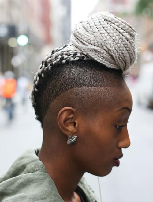braided mohawk bun hairstyles for girls