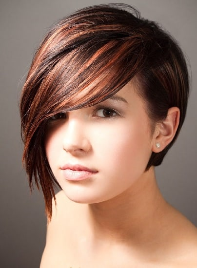 short back hair with side swept long bangs in front