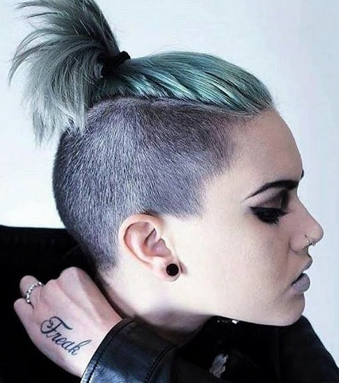 women's undercut hairstyles short in back long on top