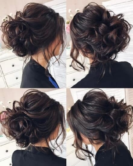 hairstyle for lehenga with messy bun