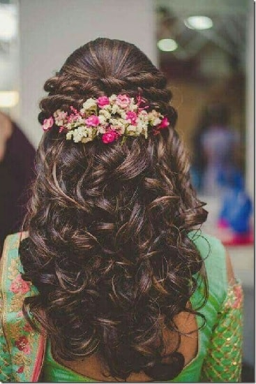 Bouffant with double twisted hairstyle for lehenga