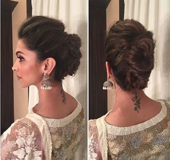 puffed hairstyle with anarkali suit
