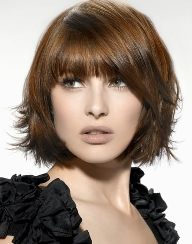 silky bob with fringe cut for short hair