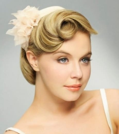 Side Swept Rolled Updo for indian bride with short hair