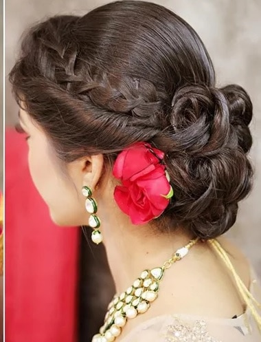Low Curled Bouffant Bun for Indian Bride