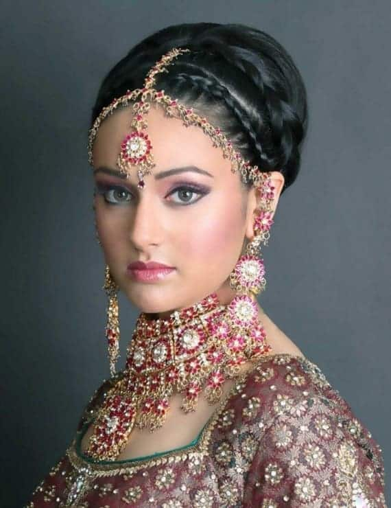 braided updo for indian bride