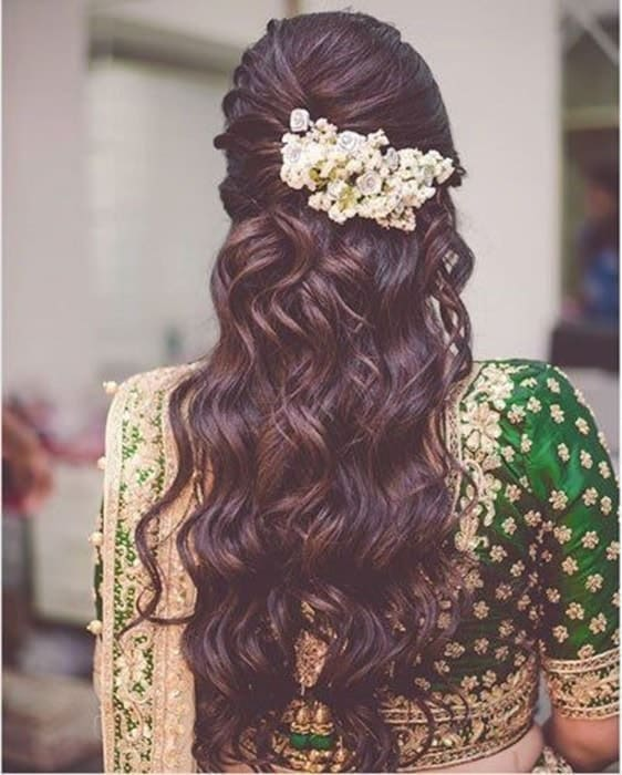 curly hairstyle for indian bride