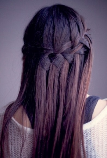 braided waterfall hairstyle for thin hair