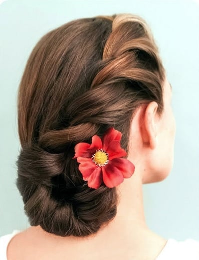 Indian Side braided bun with flowers