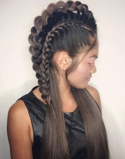 braided mohawk with weave hairstyles for girls