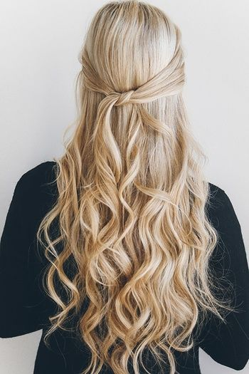 office hairstyle with knotted half updo