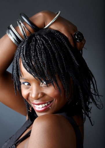 pixie bob braids with bangs hairstyle for african-american women
