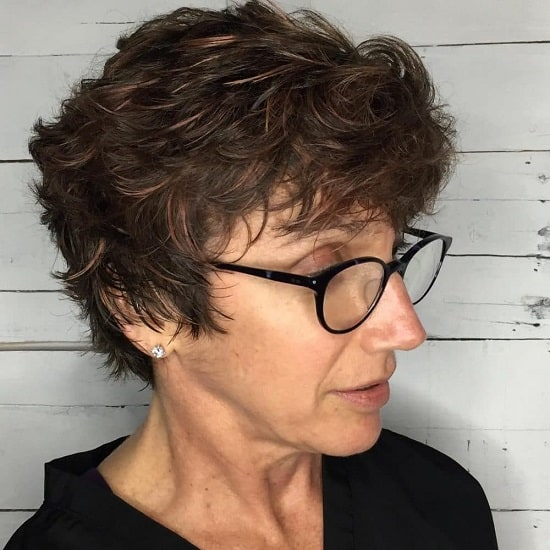 short messy haircut for women over 60 with glass
