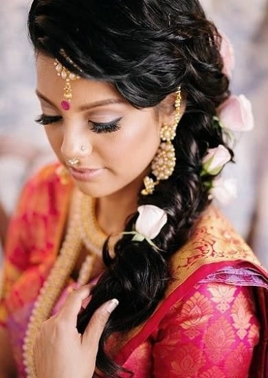 wedding hairstyle with Tousled side twist