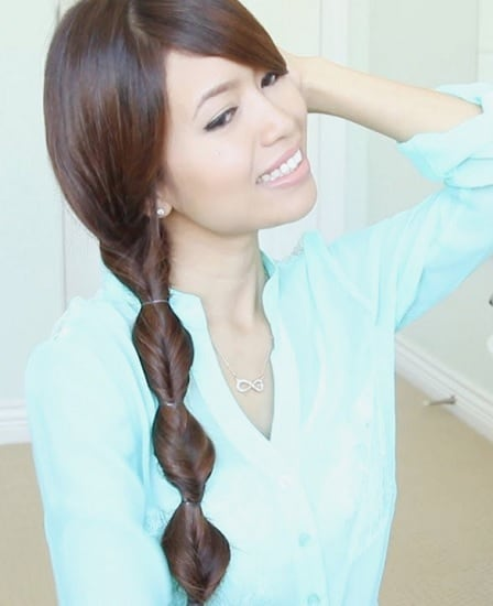 braided weave side ponytail with bangs hair
