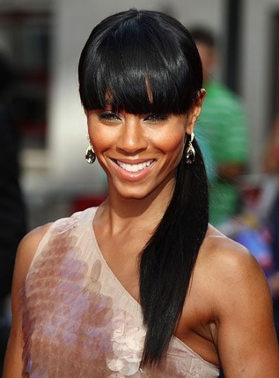 Long Weave Ponytail with Bangs