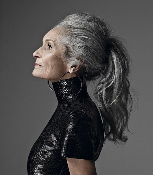 Long hairstyle for women over 60